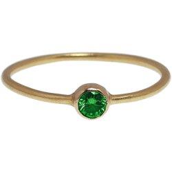 画像1: 濃いグリーンダイヤのゴールドリング