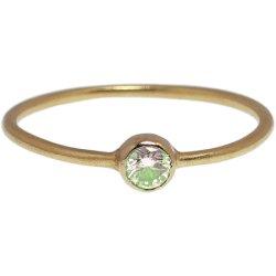 画像1: 薄いグリーンダイヤのゴールドリング